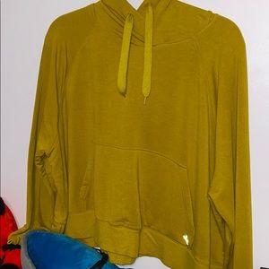 JoyLab cropped chartreuse hoodie